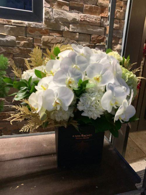 Boite de fleurs sur mesure orchidée